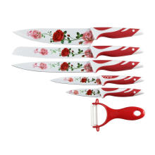 OEM manufacturer custom for Red PP Handle Knife Soft grip plastic handle kitchen knife export to France Importers