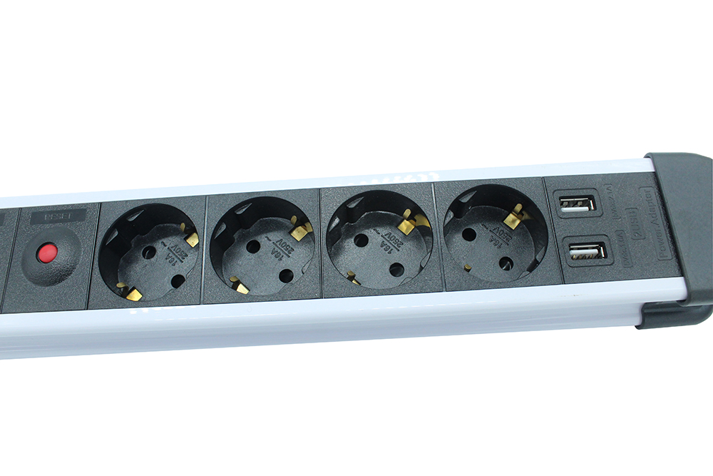 Schuko Surge Extension Socket USB Ports