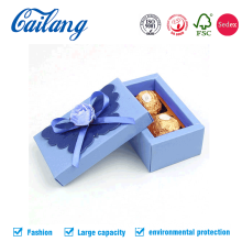 Blue Two Pellets Chocolates Paper Box with Ribbon