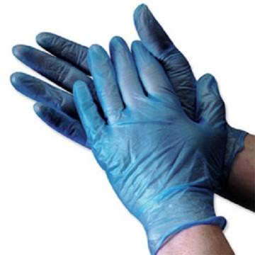 Blue powder free and powder vinyl gloves