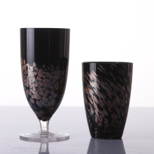 Blown Black Colored Glass Goblets For Sale