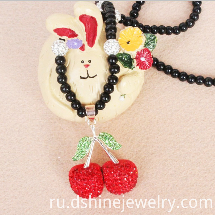 Cherry Charm Shamballa Necklace