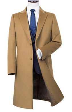 Men's pure cashmere knee length overcoat