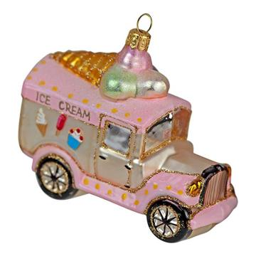 Ice Cream Van Shaped Customized Christmas Glass Ornaments