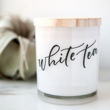 Wooden Lid White Matte Glass Natural Soy Candles