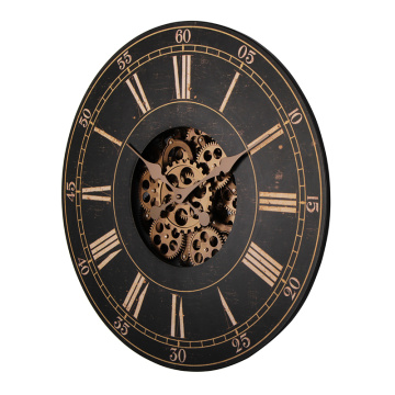Large wooden clock with gears