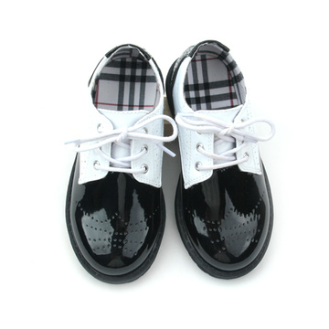 Quanlity Leather Black and White Kids Casual Shoes