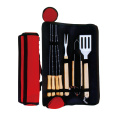 8pcs BBQ set with rubber wood handle