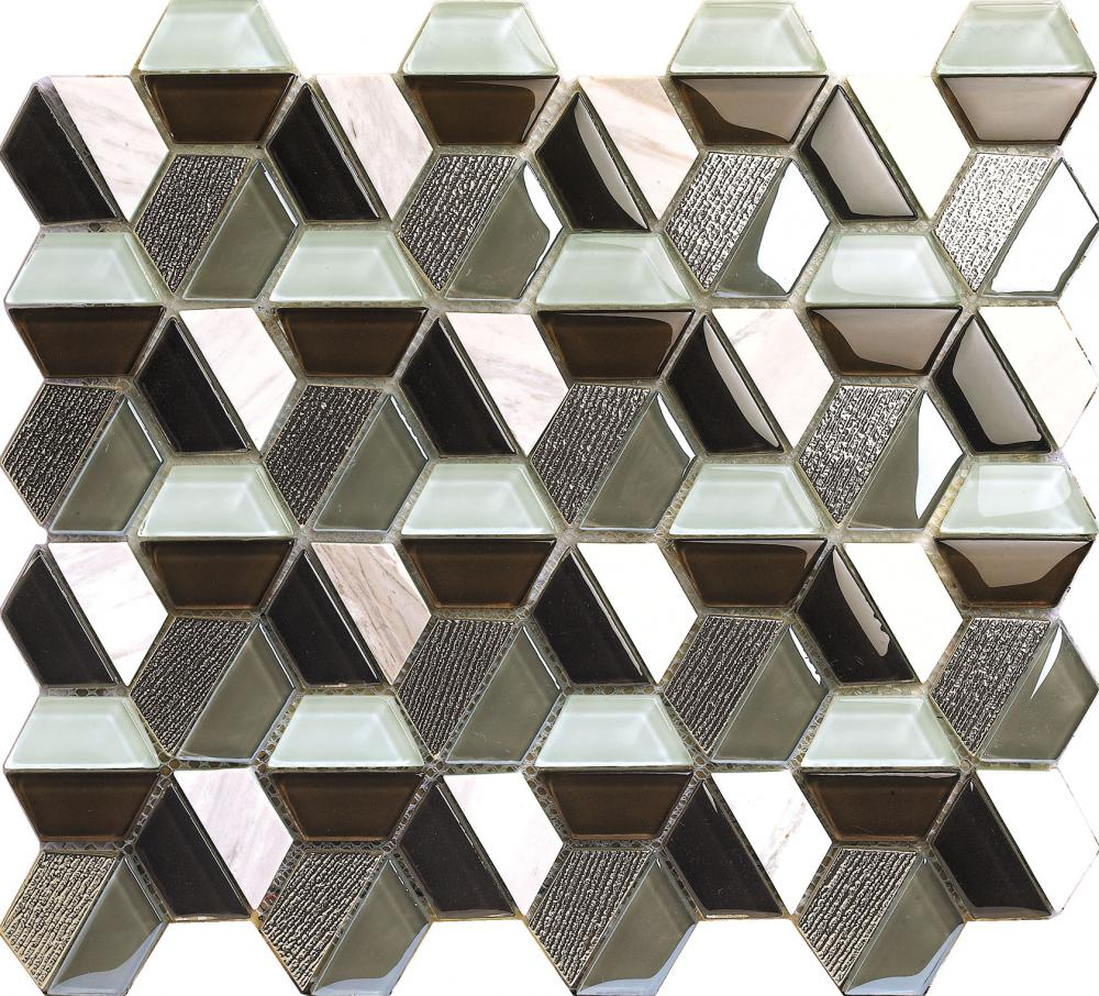 Glass Marble Splice Hexagon Mosaic Tile