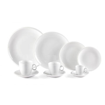 Embossed White Cheap Dinner Plate Coffee Cup Set