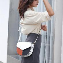3 colors splicing half moon satchel sling bag