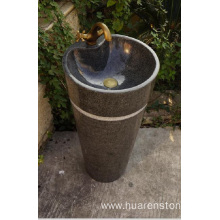 G654 dark grey granite stone pedestal sink