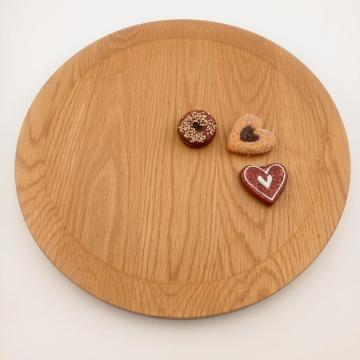 Round wooden food serving tray