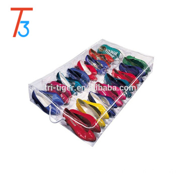 Underbed shoe organizer clear plastic stackable shoe storage box