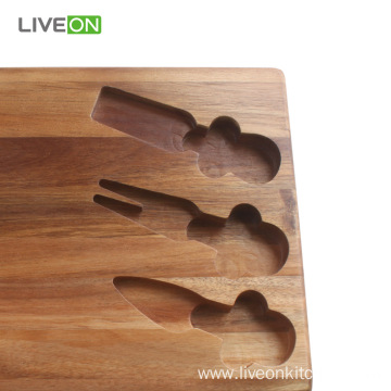 Cheese Cutting Cheese Board Set with Cutlery Set