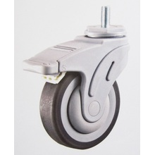 Plastic medical caster wheel thread stem brake