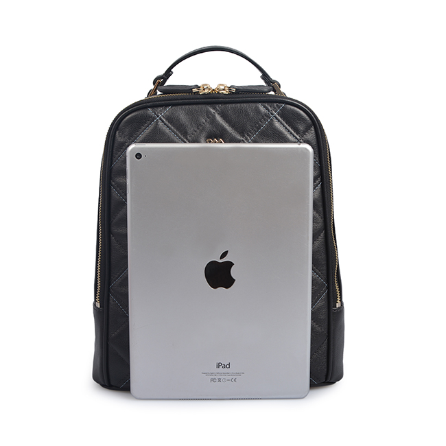 metal chain design genuine leather backpack for women
