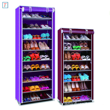 9 Tier Shoe Rack with Cover Simple Stackable Dustproof Cabinet Parts Shoe Rack