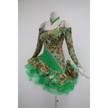 Green latin dance costumes for competition