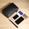 Leather Business Wrist Clutch Bag Case Pouch Purse