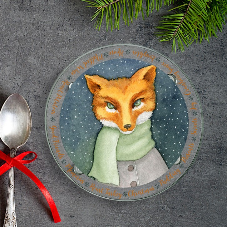 winter-fox-round-glass-coaster