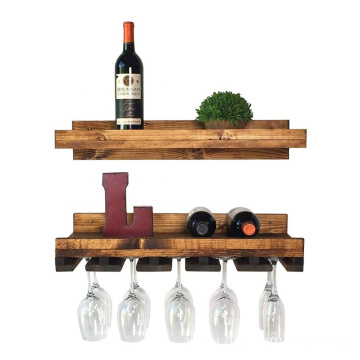 Wood  Floating Wine Shelf and Glass Rack Set