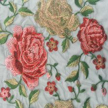 Gorgeous Rose Embroidery On Black Nylon Mesh Fabric
