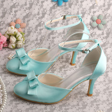 China for Satin Lace Edge Bridal Shoes Wedopus Mint Green Wedding Bridesmaid Shoes export to South Korea Wholesale