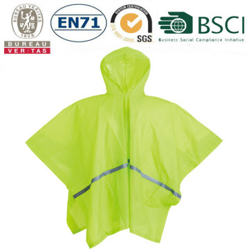 Foldable PVC rain poncho with reflective