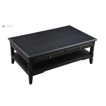 Two Layers Dark Solid Wood Coffe Table