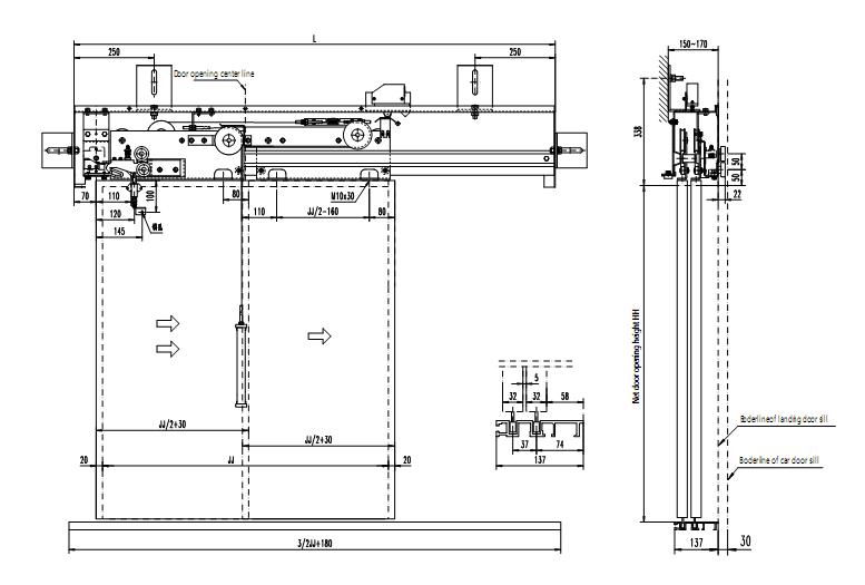 Two Speed Elevator Door Operator For Xd1407a 1800 Opening Width