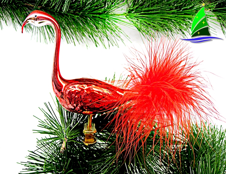 red glass flamingo ornament