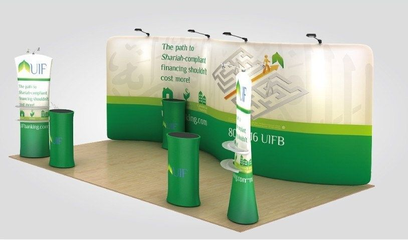 Advertising trade show pop up banners , Wall tension fabric pop up display