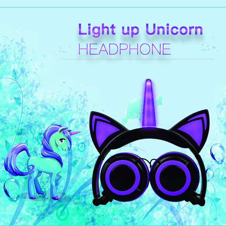 foldable stereo wired unicorn headphone
