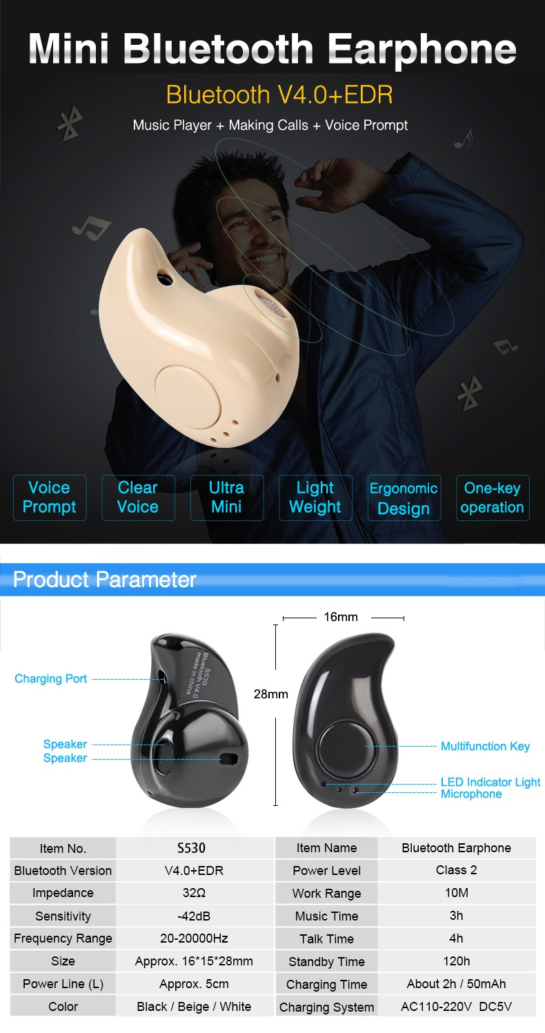 Wireless HiFi Music Invisible Mini Style Earphone