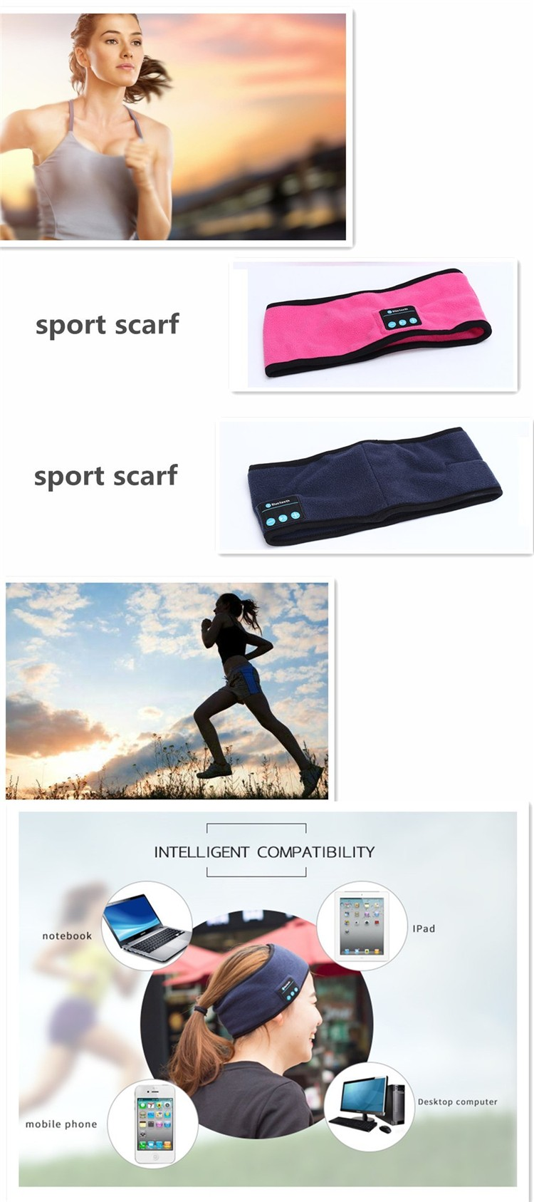 Wireless Stereo Sound Head Phone for Sport
