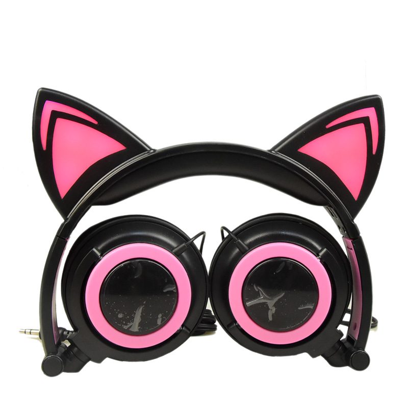Black pink cat ear headphone