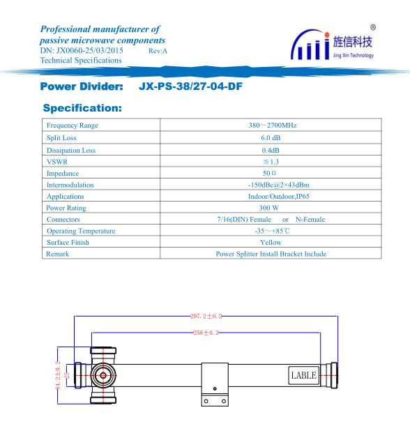 RF Cavity Power Splitter 4 Way, 380-2700MHz DIN-Female or N-Female Connector Passive Microwave Wireless Power Divider