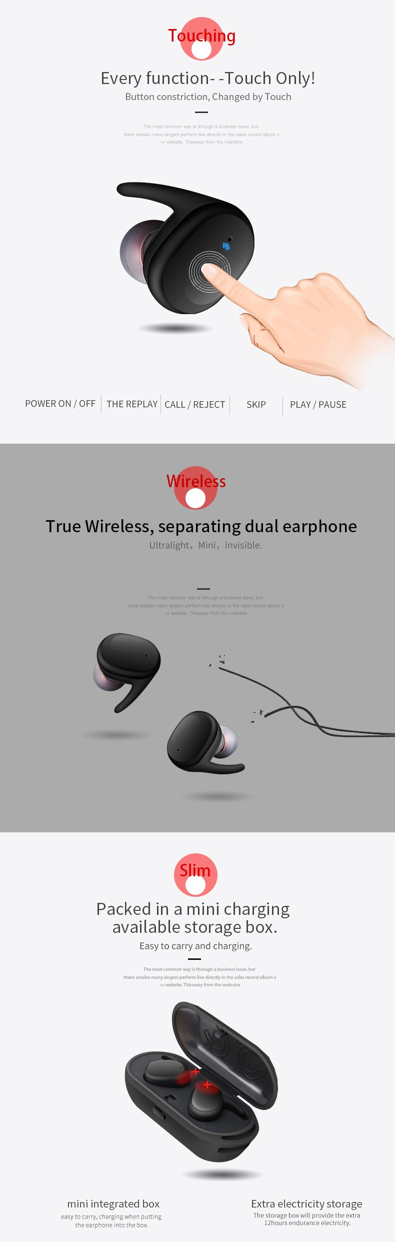 Touch wireless earphone