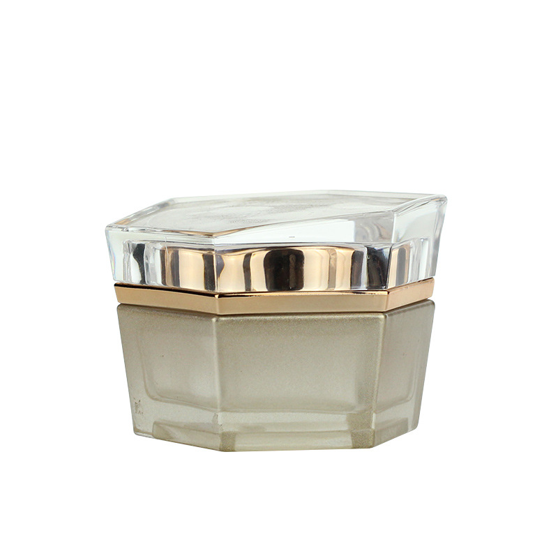 Golden glass Hexagon cosmetic Spray Bottle and jars