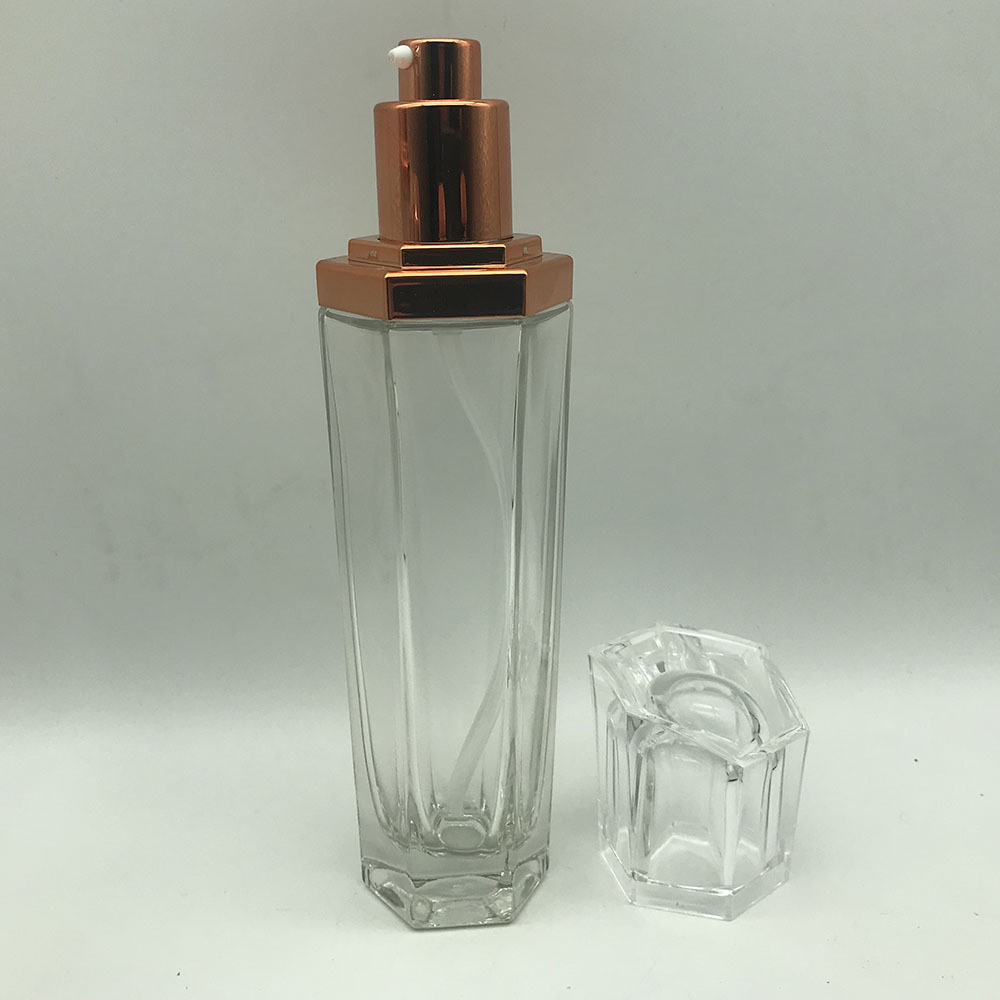 Hexagon glass cosmetic Spray Bottle and jar