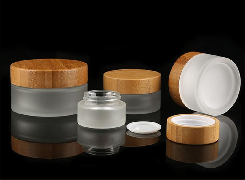 Bamboo cosmetic bottles and jars sets Bamboo lid