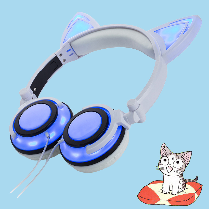 White color cat ear headphone