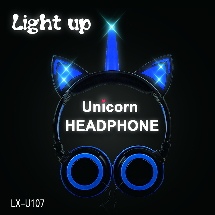 Unicorn Cat Ears LED Cute Wired Stereo Headphone