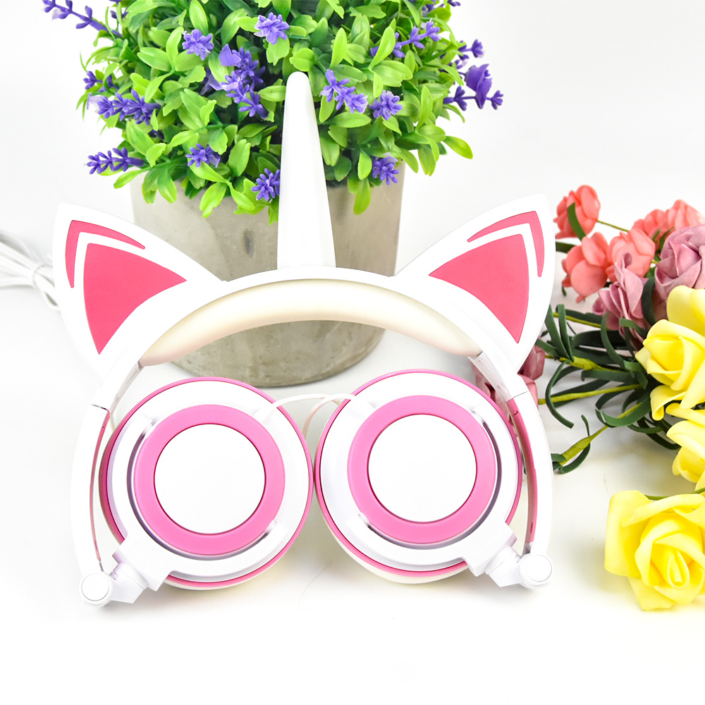 New design light up Unicorn Cat Ear Headphones