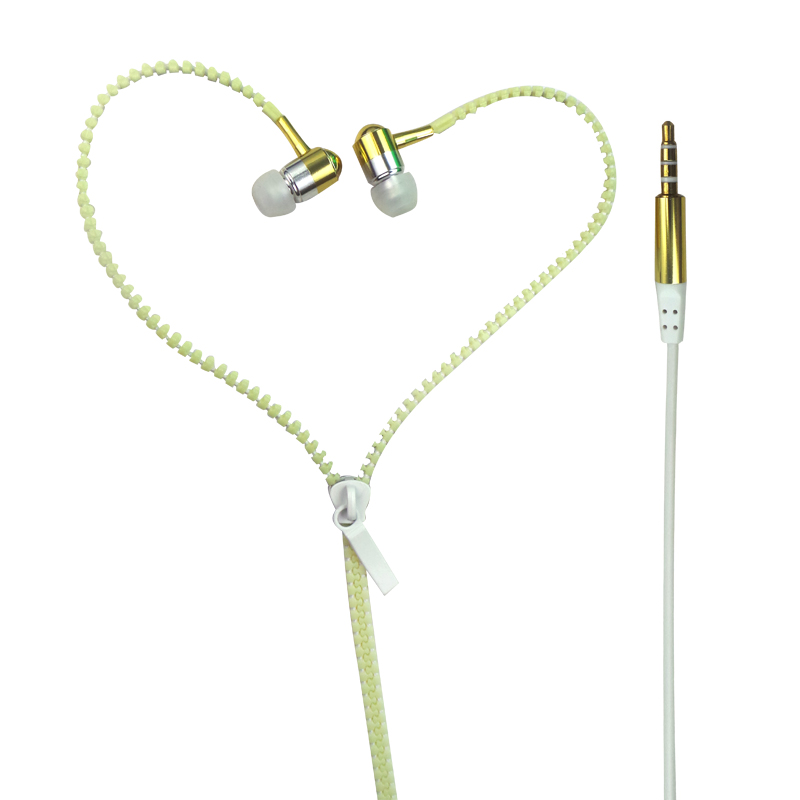 OEM ODM Metal Zipper Stereo In Ear Earphones