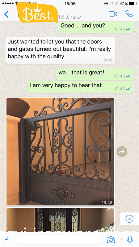 Best Sell Wrought Iron Door Swing Open Entry Door