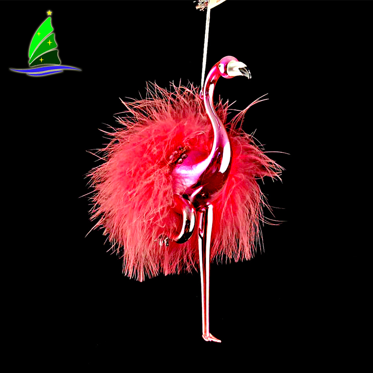 glass Christmas flamingo ornament
