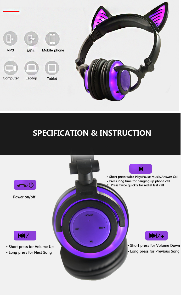 Black color headphone with LED light