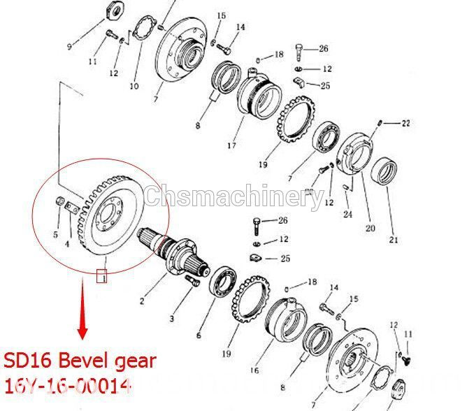 Shantui bulldozer SD16 bevel gear 16Y-16-00014